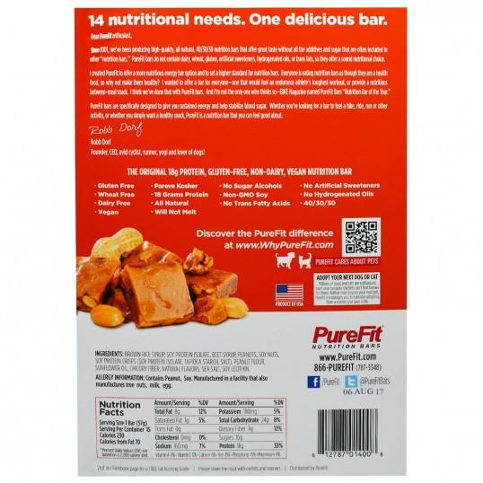بروتين بار نباتي الفول السوداني وقطع التوفي من بيور فيت